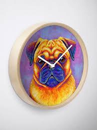 'Colorful <b>Rainbow Pug</b> Dog' Clock by Rebecca Wang | Pug dog ...