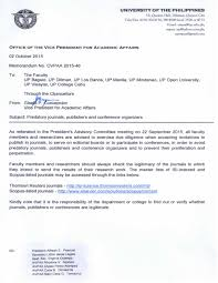 university of the manila from the office of the vice chancellor for academic affairs ovcaa ovpaa memo no 2015 46