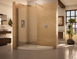 ideas bathroom tile color cream neutral: chrome pull out handle door bathroom walk in shower designs cream tiles spaces ideas dark brown