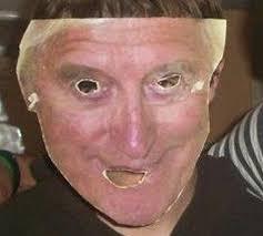 UKIP Candidate Bradley Monk wearing a Jimmy Savile mask - article-2318167-1992C2A8000005DC-32_470x423