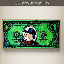 <b>Skilled Artist Hand Painted</b> Wall Art <b>Graffiti</b> Dollar Oil <b>Painting</b> On ...