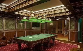 large pool table billiard room lighting