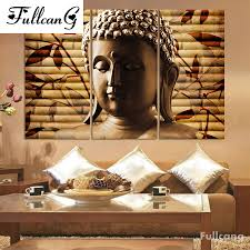 <b>FULLCANG</b> Buddha <b>triptych diy diamond</b> painting cross stitch ...