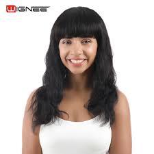 <b>Wignee Long</b> Body <b>Wave Human</b> Hair Wigs With Free Bangs For ...