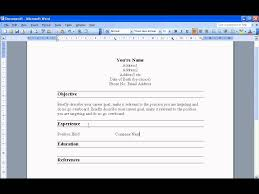 create a resume in word 2003