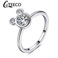 <b>Cuteeco</b> 2019 Women Cute Silver Plated Mickey Shaped Rings ...