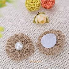 <b>10pcs Handmade Burlap</b> Hessian <b>Jute Flower</b> Pearl for Vintage ...