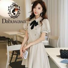 <b>Dabuwawa Summer New</b> Puff Sleeve Double-breasted Bow Elegant ...