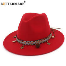 <b>BUTTERMERE</b> Red Fedoras <b>Hats</b> For <b>Women</b> Ethnic Style <b>Wool</b> ...