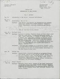 pedagogy southern oral history program th anniversary exhibit oral history seminar syllabus notes p 1 1978 syllabus for oral history