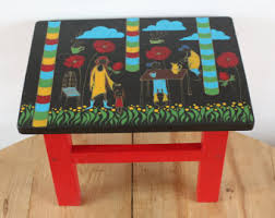 small colorful bench painted side table boho chic furniture painted furniture wooden stool tabouret small stool end table boho style furniture