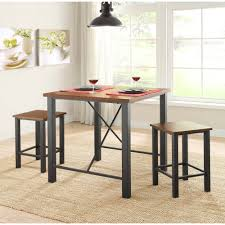 three piece dining set: whalen industria  piece counter height dining set brown walmartcom