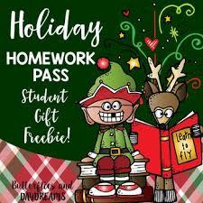 Holiday Homework Pass  FREE