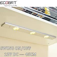 modern 45cm long aluminum linear 12v led bar light ir sensor under kitchen cabinet lighting fixtures swing on off switch cabinet light switch