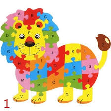 Wooden Animal Elephant Dinosaur <b>ABC Alphabet Learning Puzzles</b> ...