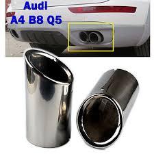 "2pcs 3"" Chrome Car <b>Exhaust Muffler Tail</b> Pipe Tip for Audi A4 B8 Q5 ..."
