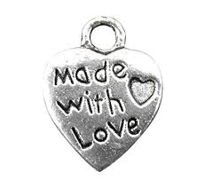 EJY <b>100pcs Antique Silver</b> Plated Made with <b>Love</b> Heart Charm 10mm