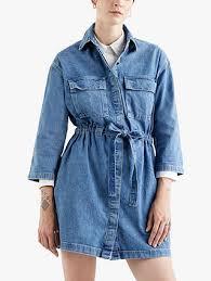 <b>Levi's Ainsley Utility Denim</b> Dress, Mid Blue at John Lewis & Partners