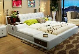 <b>Real Genuine Leather Bed</b> Frame Modern Soft Beds With Storage ...