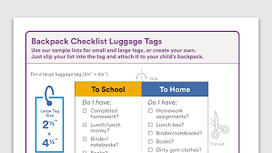 ways to teach your middle school child organization skills graphic of backpack checklist luggage tags