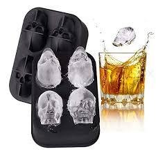 Black TECHSON <b>3D Skull</b> Ice Cube Mold Tray Flexible <b>Silicone</b> Ice ...