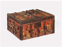 medieval origin trestle tables carved and painted oak casket with metal mounts western europe decorat