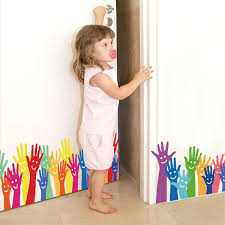 <b>Cartoon Colorful Palm Baseboard</b> Wall Sticker Kindergarten ...