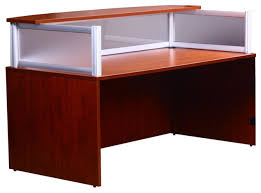 boss office products plexiglass reception desk cherry desks and hutches bow front reception counter office reception desk