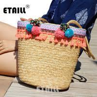 Straw</b></font> Bucket <b>Bag Summer</b> Ladies Woven