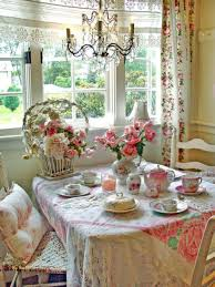 Floral Dining Room Chairs Shabby Chic Tablecloth Linen Fabric Embroidery Floral Pattern