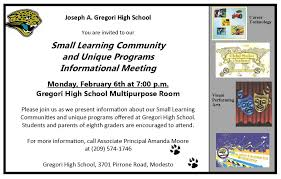 joseph a gregori high school incoming 9th graders you are invited to a presentation on small learning community