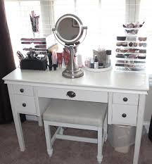 f white glaze solid wood vanity dresser table with drawers combined with nickel standing mirror and charming makeup table mirror