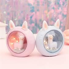 <b>Cute</b> Alpaca Novetly Lights Bedroom Bedside <b>Resin Cartoon</b> Sheep ...