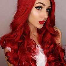 <b>Imstyle</b> Ariel <b>Red</b> Lace Front Wigs Long <b>Wavy Synthetic</b> Wig…