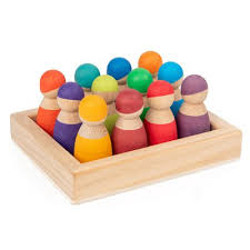 <b>Rainbow Blocks Series 12-color</b> Small Figure Set Wooden Tray ...