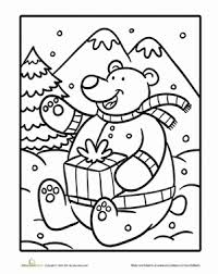 Christmas Bear | Coloring Page | Education.comChristmas Winter Kindergarten Holiday Worksheets: Christmas Bear Coloring Page