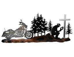 tree scene metal wall art: custom metal motorcycle biker prayer wall art