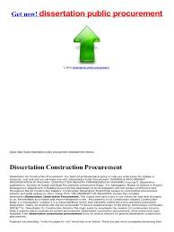 public procurement dissertation public procurement