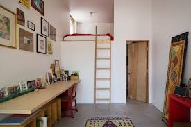 corner loft bed home office contemporary with concrete floor frame collage bed with office underneath