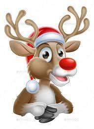 <b>Christmas</b> Reindeer <b>Cartoon</b> with Santa Hat | <b>Christmas</b> drawing ...