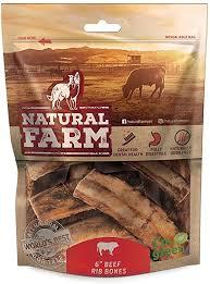 Natural Farm <b>6</b>-<b>Inch</b> Beef Rib Dog Chew Bones (<b>8</b>-Pack) <b>Grass</b> Fed