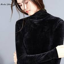 Moda Jihan <b>Fall Women</b> Shirts Long Sleeve Bottoming Shirts <b>Velvet</b> ...