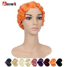 AOSI <b>Short Curly</b> Black <b>Pink</b> Purple Finger Waves Wigs for African ...