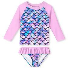 Buy ALOOCA Little Girls <b>Two</b> Pieces Rash Guard Swimsuit Set Long ...