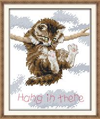 <b>Joy Sunday</b> Hang In There Cat Design Cross Stitch Cotton <b>DIY</b> ...