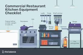 Commercial <b>Restaurant Kitchen Equipment</b> Checklist
