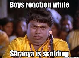 Boys reaction while SAranya is scolding - Naadas senthil | Meme ... via Relatably.com