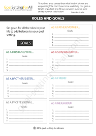 5 personal goal setting worksheets templates printable pdf your role as a worker as a brother as father as a neighbour etc etc and set goals