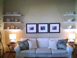 For Floating Shelves In Living Room Agreeable Decorating Ideas Using White Roman Shades And