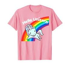 Pink Hello Unicorn Rainbow T-Shirt: Clothing - Amazon.com